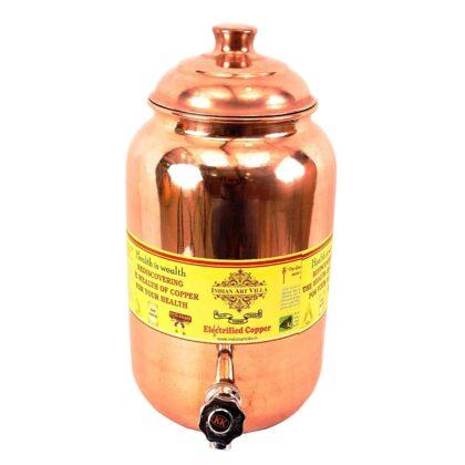 Indian Art Villa Copper Water Pot/Water Dispenser Matka with Plain Design, for Storage & Serving Water, Volume-2 Liters