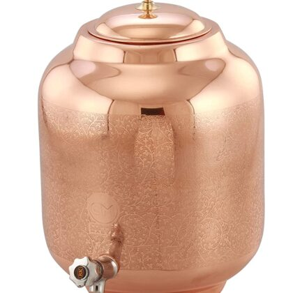 Copper-Master 5 litres Elegant Etching Design Copper Water Dispenser (Matka) Leak Proof Container Pot with Pure Copper and Ayurvedic Health Benefits (5000 ml)